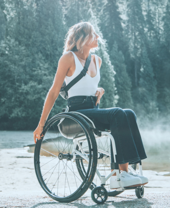 Woman in a wheelchair looking confident and serene